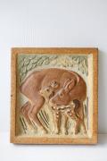 北欧ヴィンテージ/B&G/陶板の壁掛け/シカの親子
