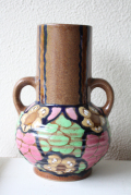 ドイツ製/ヴィンテージ持ち手つき花瓶/グリーン×ピンク