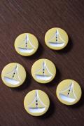 【ハンドメイド】北欧ヴィンテージボタン6個セット/Φ2.5cm/イエロー
