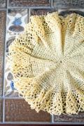 手編みのドイリー/イエロー/Φ17.5cm