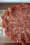 手編みのドイリー/ブラウン/Φ30cm