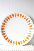北欧ヴィンテージ/Lyngby Porcelain/ディナープレート/ロータス/オレンジ