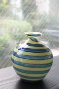 スウェーデン製/ヴィンテージガラスの花瓶/イエロー&ネイビーブルー