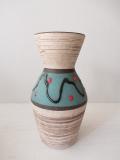ドイツヴィンテージ/花瓶/ターコイズブルー×赤いドット