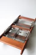 北欧ヴィンテージ/Wigge/デンマーク製/木製トレイ&ガラス容器