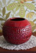 デンマーク製/ヴィンテージ花瓶/赤×幾何学模様/SOLD OUT