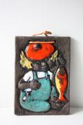 北欧ヴィンテージ/スウェーデン製/陶板の壁掛け/男の子