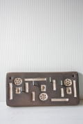 北欧ヴィンテージ/陶板のカギ掛けフック/幾何学模様