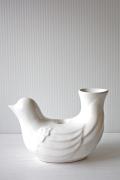 北欧ヴィンテージ/スウェーデン製/花瓶&キャンドルホルダー/白い小鳥