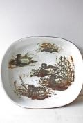 北欧ヴィンテージ/Royal Copenhagen(ロイヤルコペンハーゲン)/角皿/4羽の雉