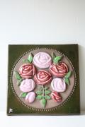 北欧ヴィンテージ/jie gantofta社/陶板の壁掛け/ピンクのバラ