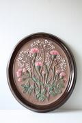 北欧ヴィンテージ/GABRIEL社/陶板の壁掛け/ピンクのアザミ