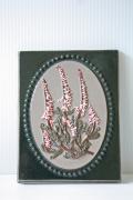 北欧ヴィンテージ/jie gantofta社/陶板の壁掛け/ピンクのお花