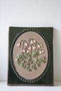 北欧ヴィンテージ/jie gantofta社/陶板の壁掛け/リネアの花
