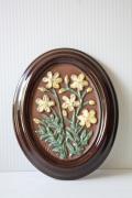 北欧ヴィンテージ/GABRIEL社/陶板の壁掛け/黄色のお花/ SOLD OUT