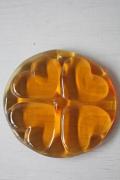 北欧ヴィンテージ/Holmegaard(ホルムガード)/ガラスのサンキャッチャー/アンバーハート/Φ10cm/SOLD OUT
