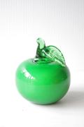 北欧ヴィンテージ/ガラスのオブジェ/青リンゴ