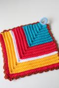 手編みのポットホルダー/ひし形