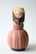 北欧ヴィンテージ/スウェーデン/木製のお人形/茶の女の子/SOLD OUT