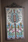 北欧ヴィンテージ/ツヴィスト刺繍/ピンクの小鳥とお花満開の木