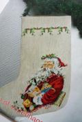 【クリスマス】北欧ヴィンテージ/図案&刺繍糸セット/サンタのくつした
