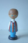 北欧ヴィンテージ/フィンランド/木製のお人形/青い目の男の子