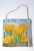 北欧織物/フレミッシュ織/つづれ織り/黄色のクロッカス