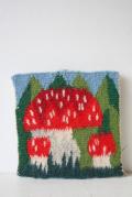 北欧織物/フレミッシュ織/つづれ織/赤いキノコ