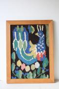 北欧織物/フレミッシュ織/つづれ織り/カラフル孔雀