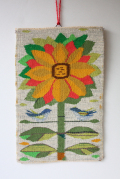 北欧織物/フレミッシュ織/つづれ織り/ひまわりと小鳥