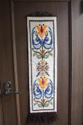 北欧ヴィンテージ/刺繍の壁掛け/お花と鳥