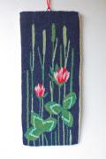 北欧織物/フレミッシュ織/つづれ織り/ピンクのしろつめ草