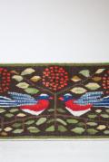 北欧織物/フレミッシュ織/つづれ織り/2羽の小鳥と木の実