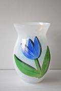 北欧ヴィンテージ/KOSTA BODA/ペイントガラスの花瓶/TULIPA/ブルー