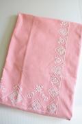 北欧刺繍/ヴィンテージテーブルクロス/ピンク&ホワイト