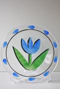 北欧ヴィンテージ/KOSTA BODA/ペイントガラスの絵皿/TULIPA/ブルー