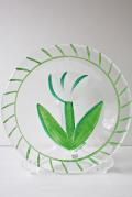 北欧ヴィンテージ/KOSTA BODA/ペイントガラスの絵皿/TULIPA/ホワイト