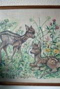 北欧刺繍/クロスステッチ/フレーム/バンビと野花