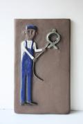 北欧ヴィンテージ/陶板の壁掛け/鍛冶屋の職人さん
