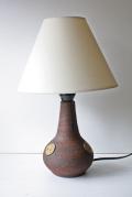 北欧照明/デンマーク製/ヴィンテージテーブルランプ/BELKA/ダークブラウン×イエローサークル