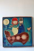 北欧ヴィンテージ/SOHOLM(スーホルム)/陶板の壁掛け/馬車に乗る男女