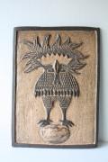 北欧ヴィンテージ/デンマーク製/陶板の壁掛け/たまごに乗る鳥