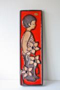 北欧ヴィンテージ/SOHOLM(スーホルム)/陶板の壁掛け/横顔の男の子