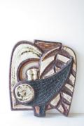 北欧ヴィンテージ/SOHOLM(スーホルム)/陶板の壁掛け/鳥と葉っぱ