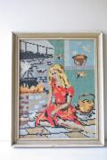 北欧刺繍/クロスステッチ/フレーム/童話の世界の女の子