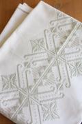 北欧刺繍/ヴィンテージテーブルクロス/雪の結晶