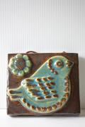北欧ヴィンテージ/EGO社/陶板の壁掛け/小鳥とお花/SOLD OUT