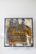 北欧ヴィンテージ/Lisa Larson(リサラーソン)/陶板の壁掛け/エレファント