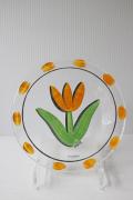 北欧ヴィンテージ/KOSTA BODA/ペイントガラスの絵皿/TULIPA/イエロー