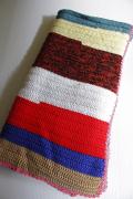 北欧/手編みのグラニーブランケット/マルチカラー/太いストライプ